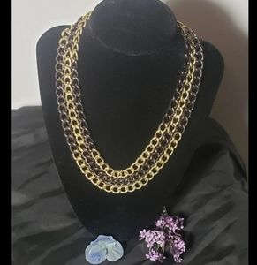 Gorgeous bronze and gold three stranded necklace